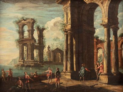 ECOLE ITALIENNE du XVIIIe siècle    Architecture...