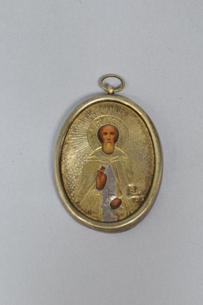 Saint Serge Radonejski. Tempera sur métal,...