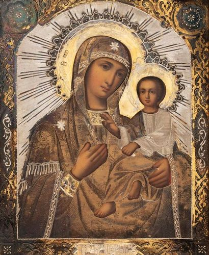Icône de la Vierge de Tikhvine. Huile sur...