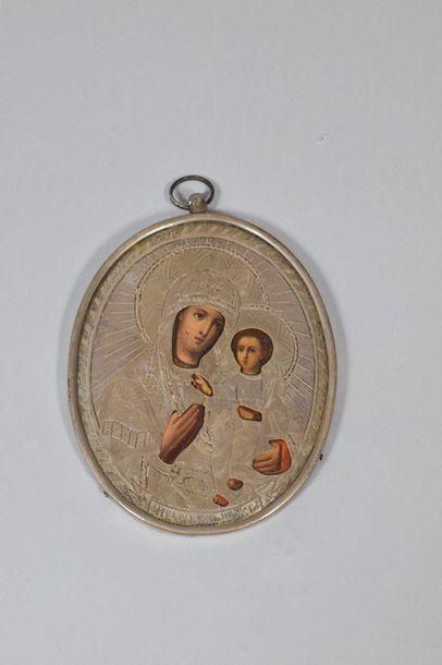 Icône de la Vierge Iverskaya. Huile sur métal,...