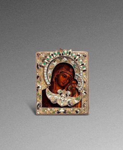Icône de la Vierge de Kazan. Tempera sur...