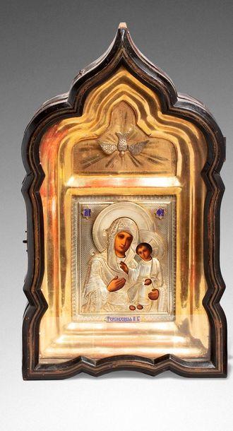 Icône de la Vierge Gerbovetskaya. Tempera...