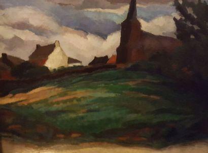 PARENT Roger, 1881-1986,  Village et clocher, 1925,  huile sur toile (craquelures),...