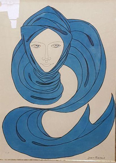MARAIS Jean (d'après)  Visage au turban  Lithographie...