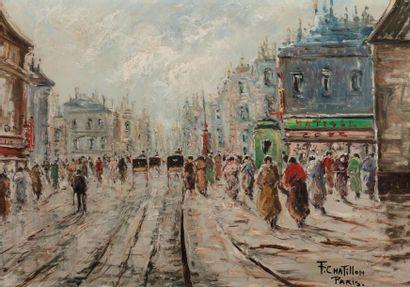 CHATILLON F., XXe siècle,  Boulevard animé aux calèches,  huile sur isorel, signé...
