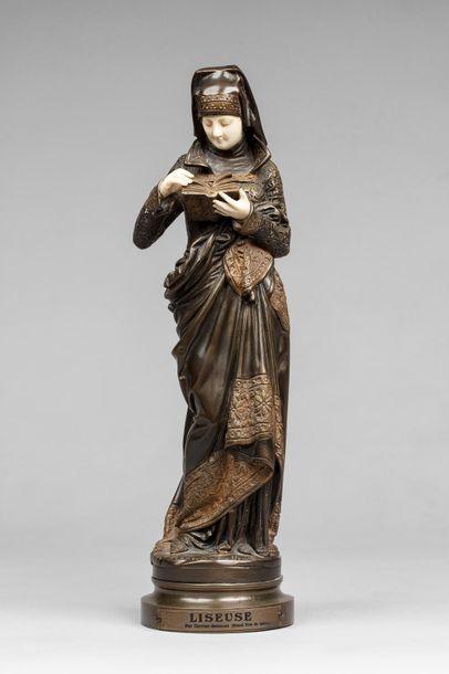 CARRIER-BELLEUSE, 1824-1887  La liseuse  bronze...