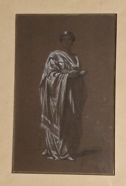 ÉCOLE FRANÇAISE DU XIXe siècle,  Reine lisant,...