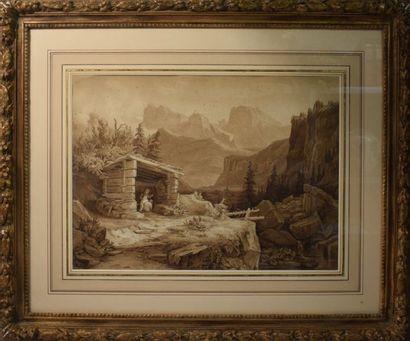 ECOLE SUISSE du XIXe siècle    1 - Paysage...