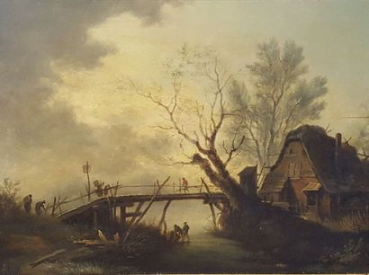 ECOLE XIXeme siècle  La maison au petit pont...