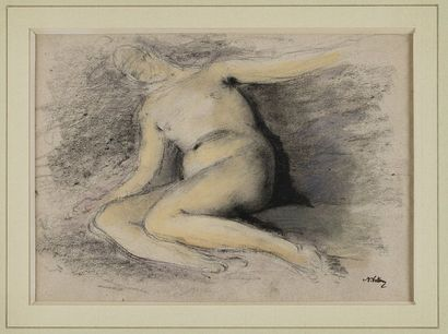 VOLLON Antoine, 1833-1900  Nu alangui  fusain...