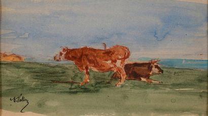 VOLLON Antoine, 1833-1900  Les vaches en...