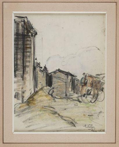 VOLLON Antoine, 1833-1900  Village aux environs...