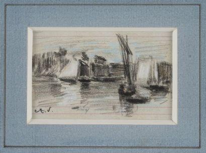 VOLLON Antoine, 1833-1900  Forteresse - Voiliers...