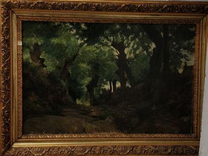 ÉCOLE FRANÇAISE FIN XIXe siècle,  Chemin creux en Bretagne,  huile sur toile (petits...