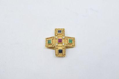 Pendentif croix en or jaune 18k (750) ornée...