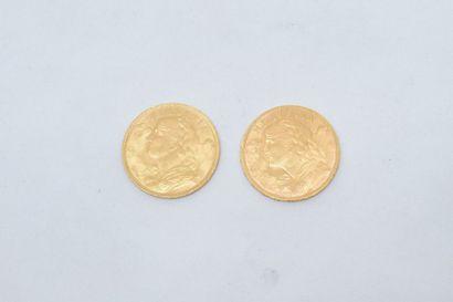 2 pièces en or de 20 francs Vreneli (1930...