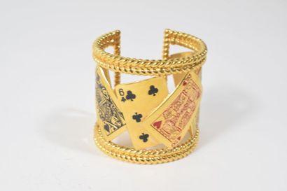 Manchette en métal doré à décorations de...