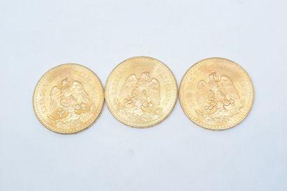 Trois pièces en or de 50 pesos Mexicains....
