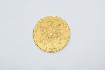 Pièce en or de 100 francs Napoléon III tête nue. (1858 A).  TB à TTB.  Poids : 32.25...