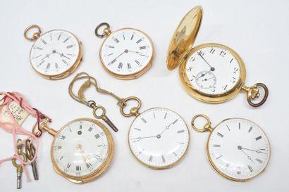 Lot de six montres de gousset en or jaune...