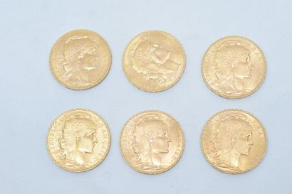 Lot composé de 6 pièces en or de 20 Francs...