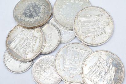 Lot composé de 6 pièces de 10 Francs Hercule...