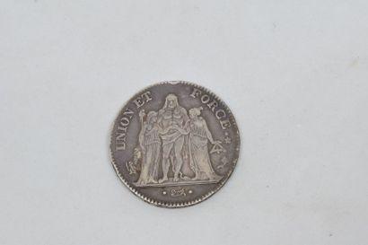 Directoire (1795-1799) cinq Francs. Union...