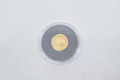 Pièce commémorative en or jaune 14k (585)...