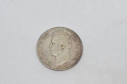 Charles X (1824-1830) 5 Francs 1827. Lille....