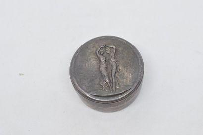 Boîte à pilules ronde, en métal argenté,...
