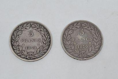 Louis-Philippe (1830-1848) 5 Francs tête nue, sans le I : 2 exemplaires 1830 Lille...