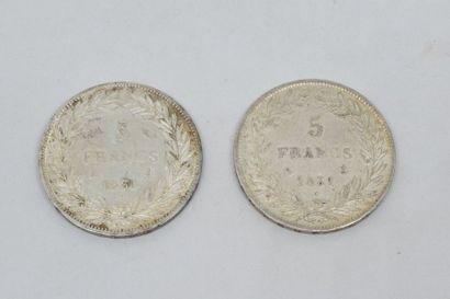 Louis-Philippe (1830-1848) 5 Francs tête nue : 2 exemplaires 1831 Paris (tranche...