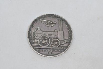 Médaille.  1835. Loi du 9 juillet 1835. Chemin de fer de Paris à Saint Germain en...