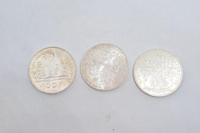 Ensemble de pièces commémoratives en argent...