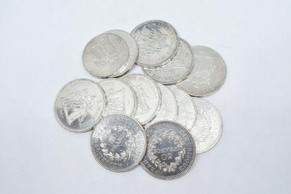 Lot composé de :  - 12 pièces 50 Francs Hercule...