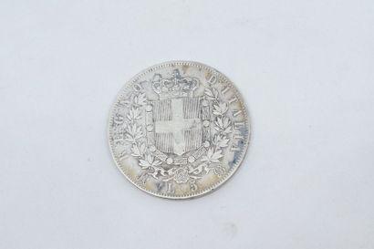 ITALIE  Pièce en argent 5 lires Vittorio Emanuele II 1870 M BN.  Poids : 25 g. -...