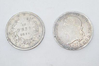 COLOMBIE  Ensemble de deux pièces en argent...