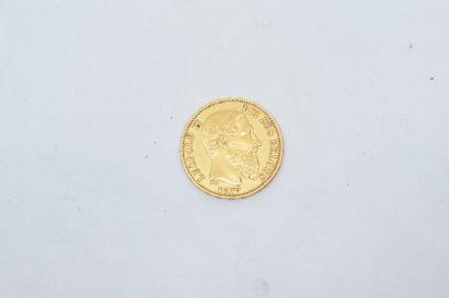 Pièce en or de 20 Francs Léopold II, 1877....