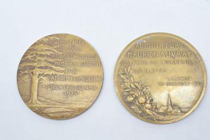 Lot de deux médailles en bronze comprenant :  - Avers : Docteur Maurice Auvray de...
