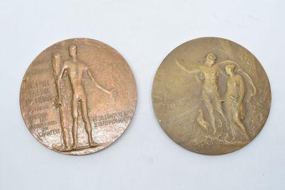 Lot de deux médailles en bronze comprenant :  - Avers : GABRIEL / PERI / 1902 /...