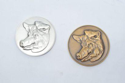 [ARTHUS BERTRAND]  Lot de deux médailles...