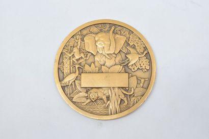 [ ARTHUS BERTRAND ]  Médaille en bronze doré commémorant L'Union Française (Exposition...