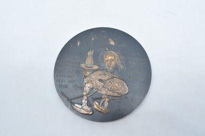 [ ARTHUS BERTRAND ] Médaille en bronze à double face à l'effigie de Jérome Bosch...