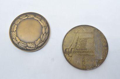 [ ARTHUS BERTRAND ]  Lot de deux médailles, l'une comméorant EDF, l'autre représentant...