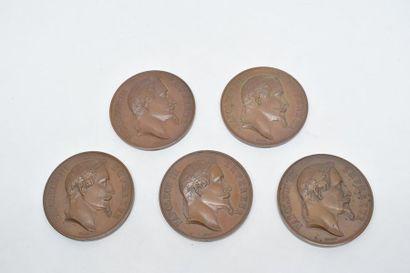 Ensemble de cinq médailles à l'effigie de...