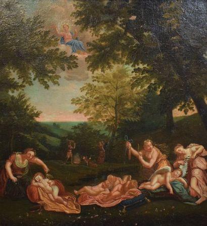 Francesco Albani dit L'Albane    Nymphe coupant les ailes à l'amour endormi  Huile...