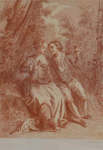 Ecole française dans le goût du XVIIIe siècle  Paire de gravures figurant une scène...