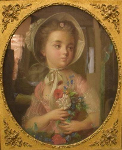 ECOLE FRANCAISE XIXème  Jeune fille au bouquet,...