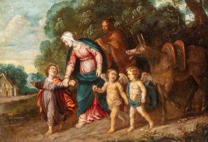 ECOLE FLAMANDE du XVIIe siècle  Entourage...
