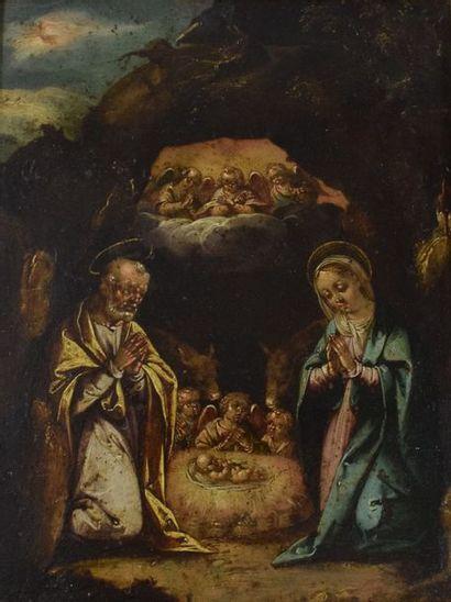 ECOLE ITALIENNE du XVIIe siècle  La Nativité....